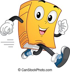 Book Mascot Running - Mascot Illustration of a Book Running...