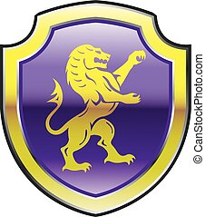 Purple Royal Shield Lion - Purple Royal Shield with golden...