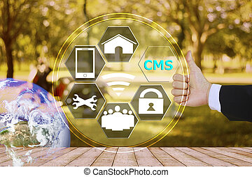 pressing like content management system (CMS) with decorated...