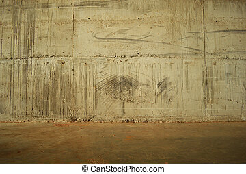 concrete wall and floor.