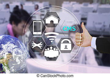 pressing like content management system CMS with decorated l...