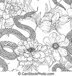 Snakes and flowers seamless pattern. - Snakes and flowers....