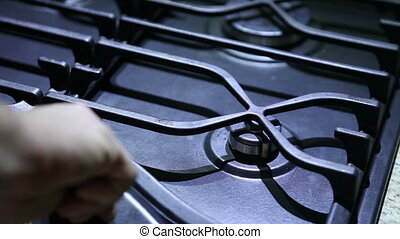 ignition gas stove, hotplate closeup