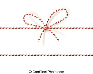 Christmas gift tying: bow-knot of red and white twisted...