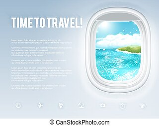 Design template with aircraft porthole and tropical landscape in it. Vector illustration, eps10.
