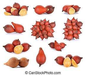Salak fruit, Salacca zalacca isolated on the white...