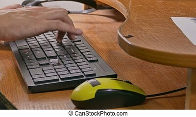 businessman man typing on keyboard works at computer -...