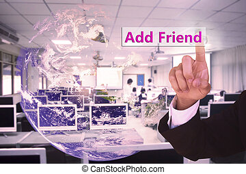 touching add friend on virtual screen vintage tone , image...