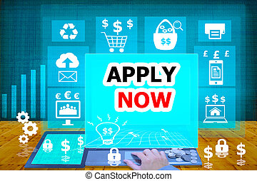 technology and biz concept.select icon APPLY NOW on the...