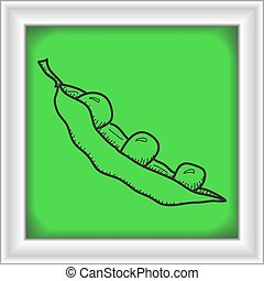 Simple doodle of a pea pod - Simple hand drawn illustration...