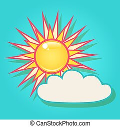 Sun with a cloud in the sky