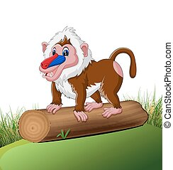 Cute baboon - illustration of Cute baboon cartoon