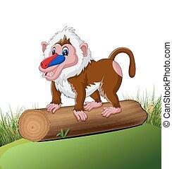 Cute baboon - illustration of Cute baboon cartoon