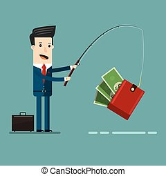 Businessman Catching Money With Fishing Rod Business Concept...