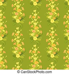 Green yellow primroses pattern. - Spring summer floral...