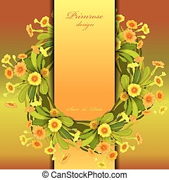 Orange yellow primroses wreath. - Spring summer floral...