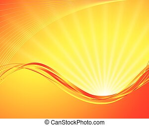 vector sun on yellow background with orange rays