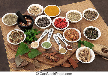 Herbs for Men - Herb and spice selection used in herbal...