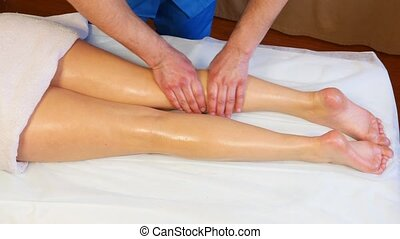 Leg Massage Close Up - Leg Massage for Girl in Spa Close Up