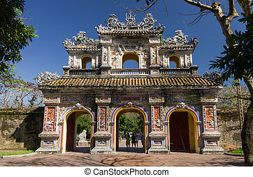 Gate of the citadel. Imperial Forbidden City. Hue, Vietnam.