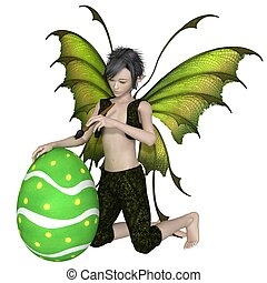 Fairy Boy Painting an Easter Egg - Fantasy illustration of a...
