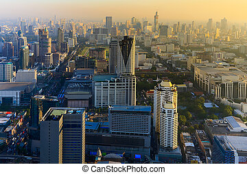 Bangkok city downtown areal view - Before sunset over...