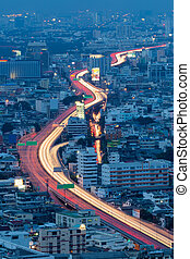 Arial view city expressway long exposure during Twilight
