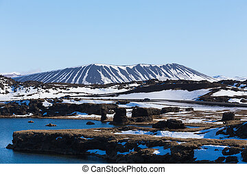 Myvatn volcano natural winter landscape, Iceland