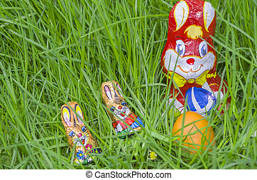 Wrapped Chocolate Bunnies with Easter Egg in the Grass...