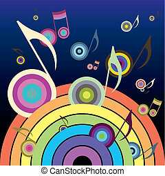 Music Rainbow - Rainbow, from which fly colorful music