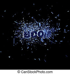 boom - the word boom in an explosion - 3d illustration
