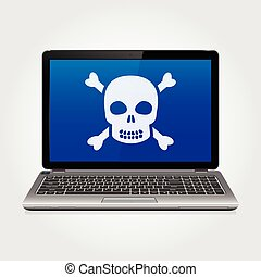 Laptop with skull on the blue screen - Business laptop with...