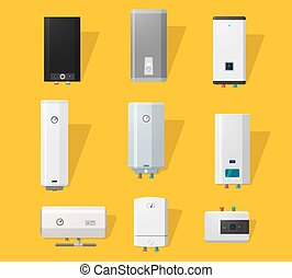 Boiler flat icons - Boiler icons set in detailed flat style....