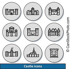Light castle icons - Set of light castle icons with...