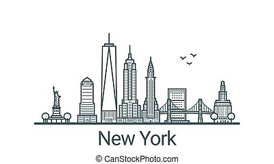 Outline New York banner - Linear banner of New York city....