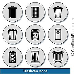 Light trashcan icons - Set of light trashcan icons with...