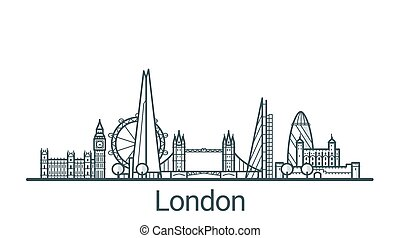 Outline London banner - Linear banner of London city. All...