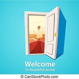 Beautiful world door - Cartoon illustration of open door and...