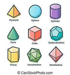 Flat line isometric shapes - Collection of geometrical...