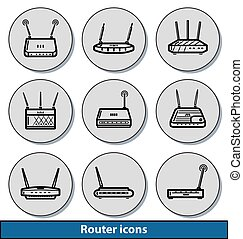 Router light icons - Set of light router icons with...