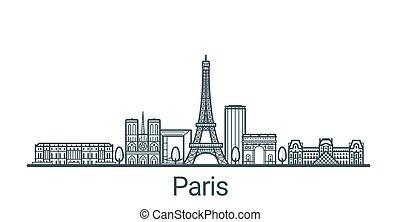 Outline Paris banner - Linear banner of Paris city. All...