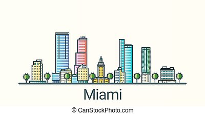 Flat line Miami banner - Banner of Miami city in flat line...