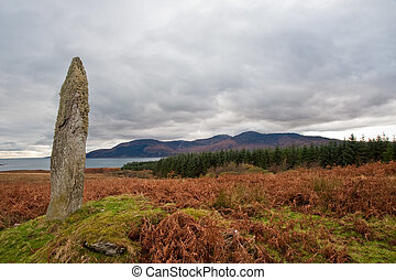 Standing stone and field on the island of Jura