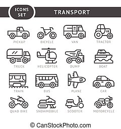 Set line icons of transport isolated on white. Vector...