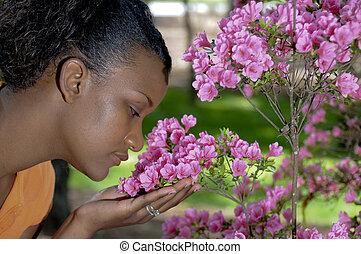 flores, cheirando
