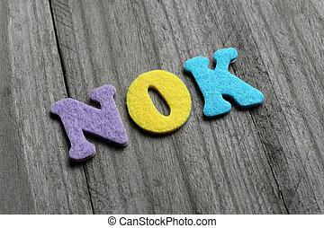 Norwegian Krone, NOK acronym on wooden background