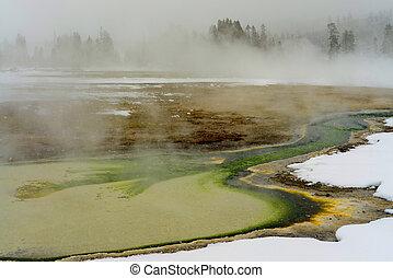 Geothermal pool Yellowstone Wyoming - Geothermal pool in...