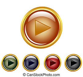 set of a play buttons - vector illustration of a set of a...