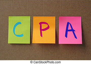 CPA Certified Public Accountant acronym on colorful sticky...