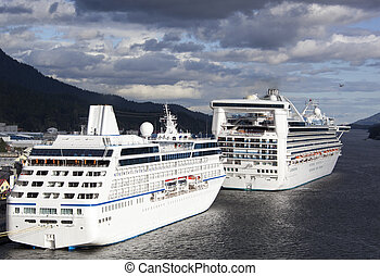 Cruise Vacation in Alaska - The view of cruise liners docked...